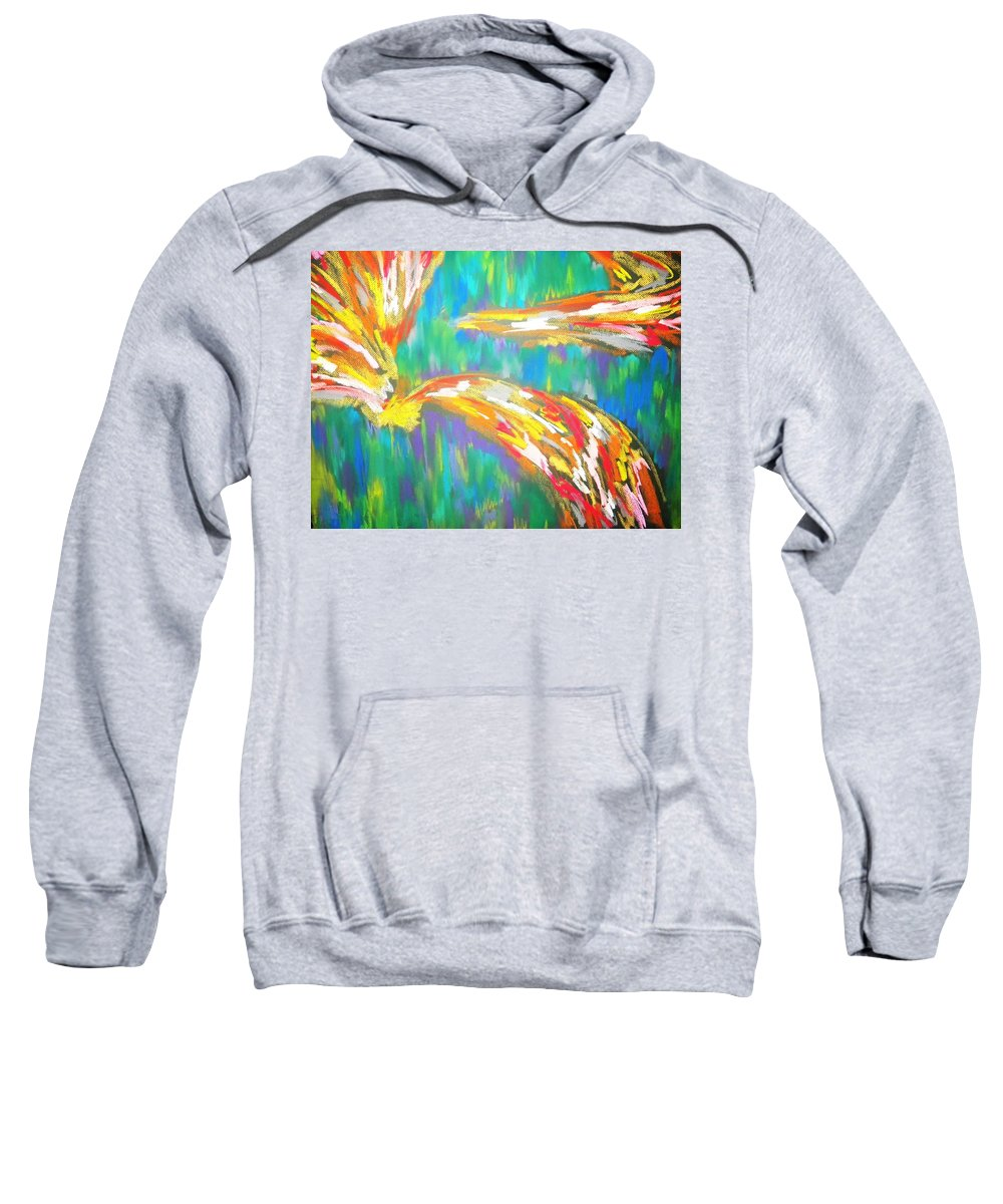Pastel Sweatshirt featuring the drawing Impact by Jan Gilmore