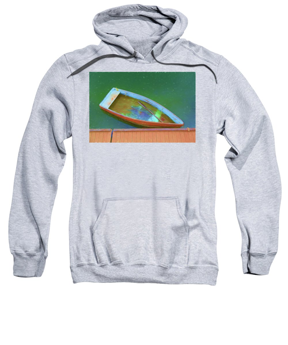 Rockport Sweatshirt featuring the photograph Impression Of A Dinghy by Frank Shoemaker