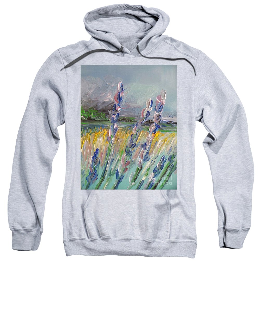 Abstract Sweatshirt featuring the painting Impressionism Fantasy Field by Eric Schiabor