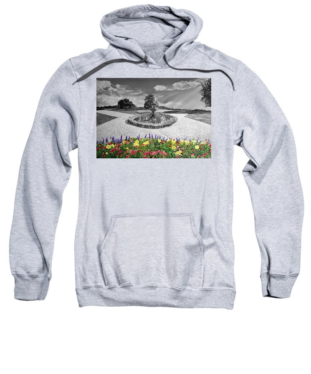 Garden Sweatshirt featuring the digital art in Black and White by Michel Angelo Rossi