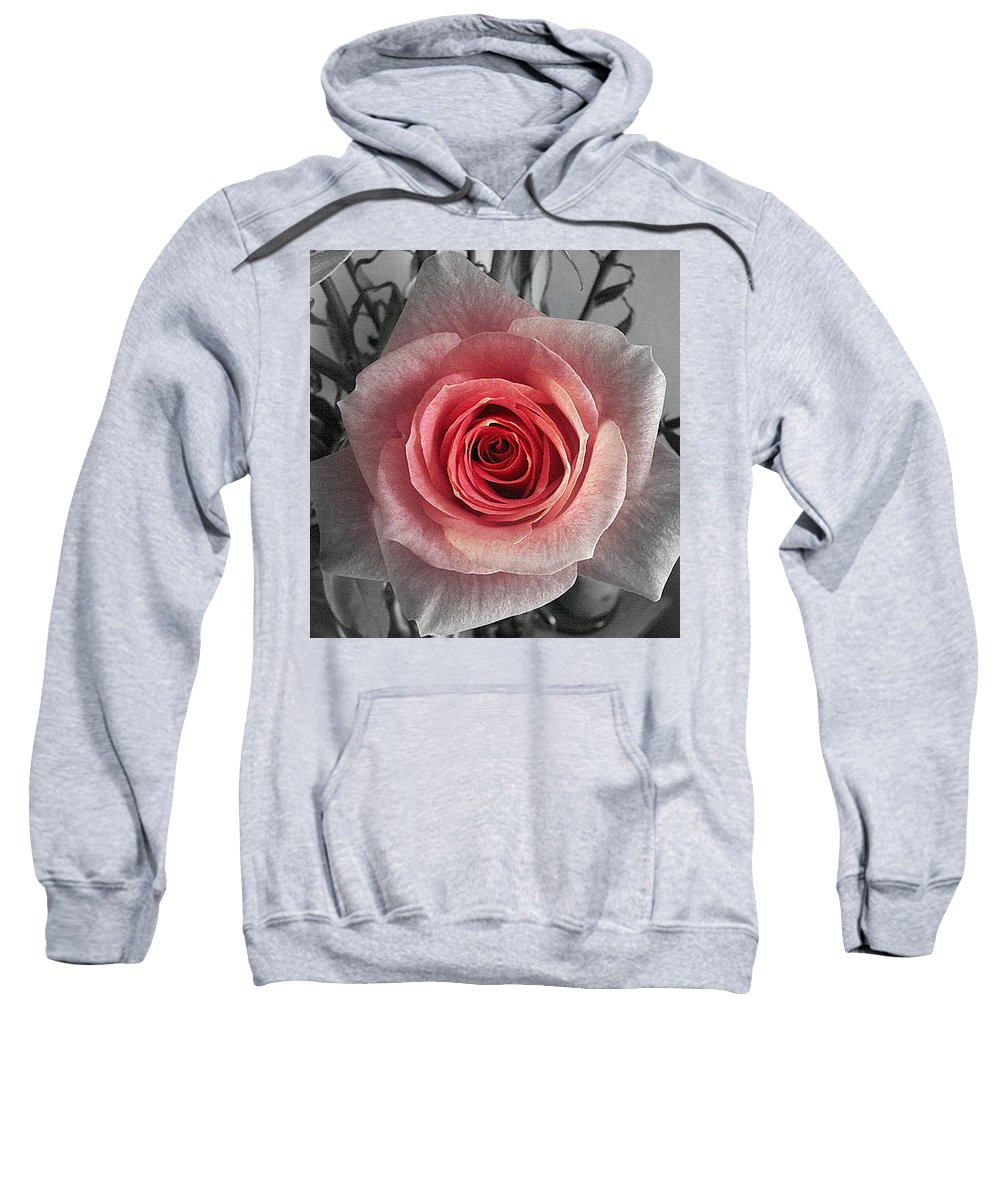 Rose Red Blackandwhite Sweatshirt featuring the photograph In The Center by Luciana Seymour