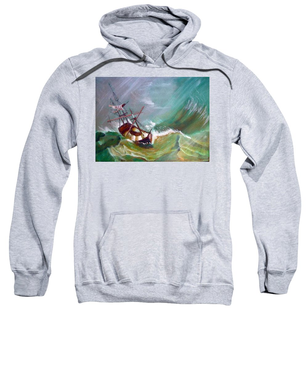 Sailing Ship Sweatshirt featuring the painting In The Eye Of The Storm by Richard Le Page