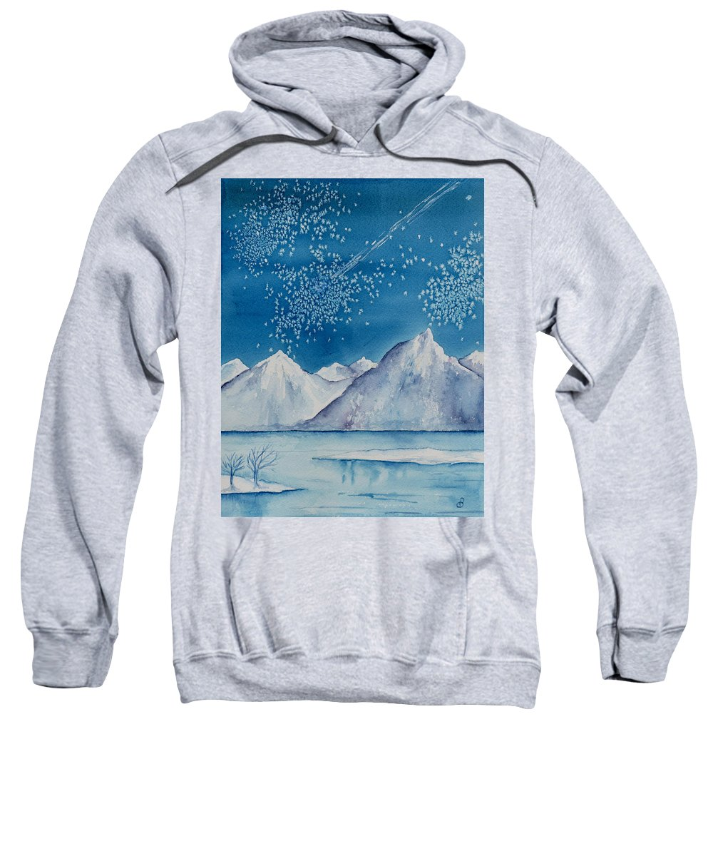 Watercol.or Scenery Landscape Fantasy Ice Snow Cold Winter Mountains Frozen Sweatshirt featuring the painting In The Far North by Brenda Owen