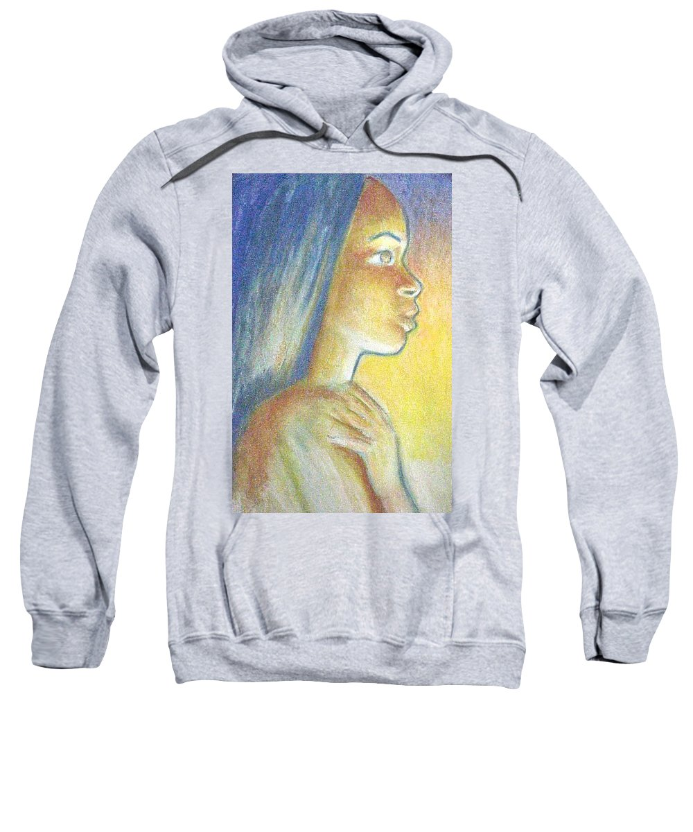 Sweatshirt featuring the drawing In The Glow by Jan Gilmore