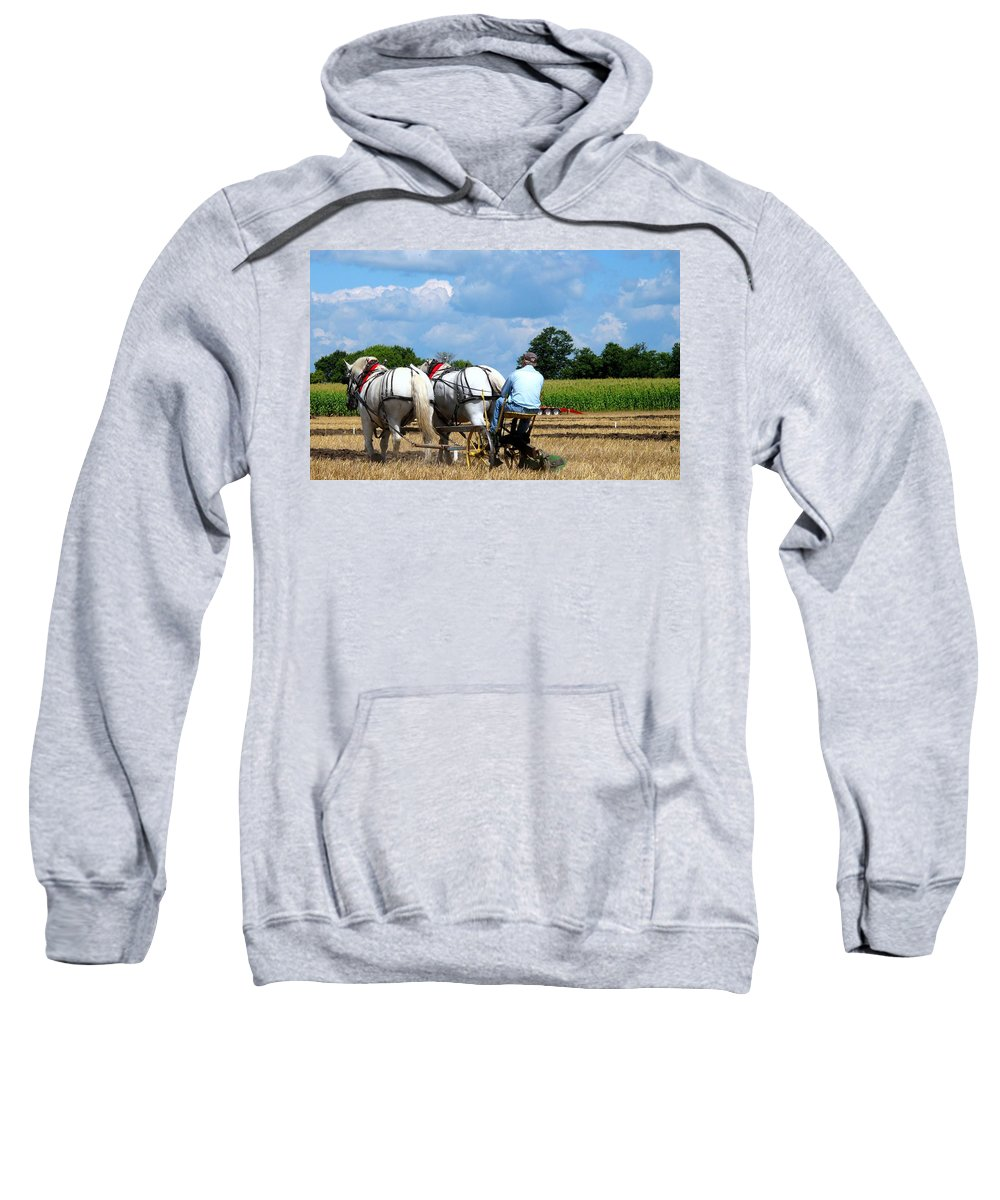 Plowing Sweatshirt featuring the photograph In The Groove by Ian MacDonald