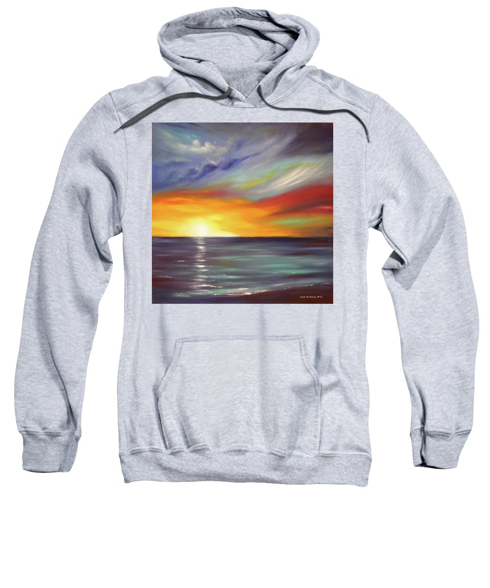 Brown Sweatshirt featuring the painting In The Moment Square Sunset by Gina De Gorna