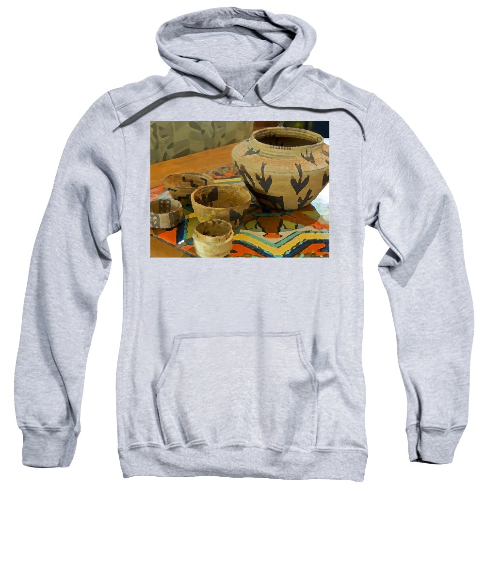 Basket Sweatshirt featuring the photograph Indian Baskets 1 by Stephen Anderson