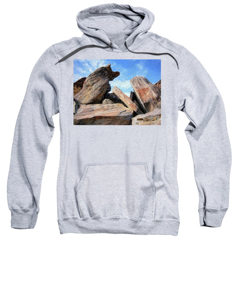 Rocks Sweatshirt featuring the painting Indian Canyon Rocks by Dominic Piperata