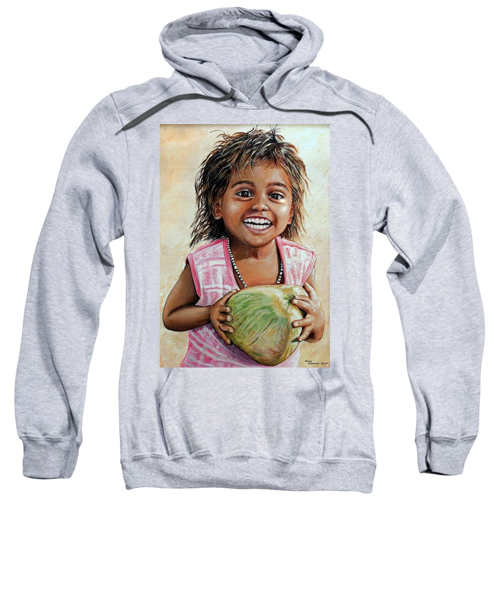 Indian Sweatshirt featuring the painting Indian Girl From The Slums by Mary Susanna Turcotte