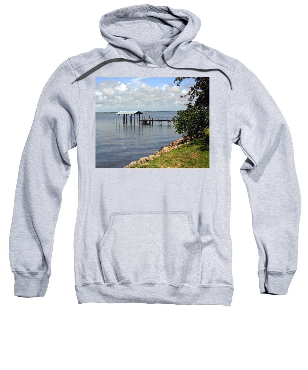 Pier; Wharf; Damaged; Hurricane; Indian; River; Florida; Indialantic; Brevard; Melbourne; Old; Inter Sweatshirt featuring the photograph Indian River In Indialantic Florida by Allan Hughes