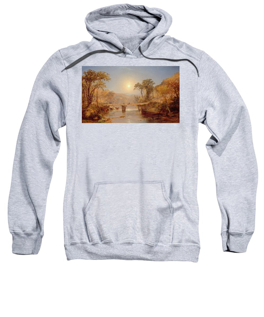 Sun Sweatshirt featuring the painting Indian Summer On The Delaware River by Jasper Francis Cropsey