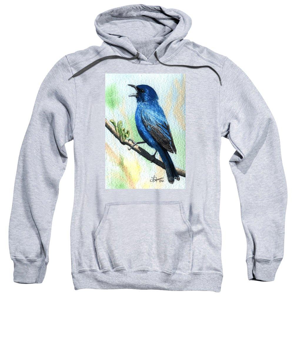 Bird Sweatshirt featuring the painting Indigo Bunting by Lynn Quinn