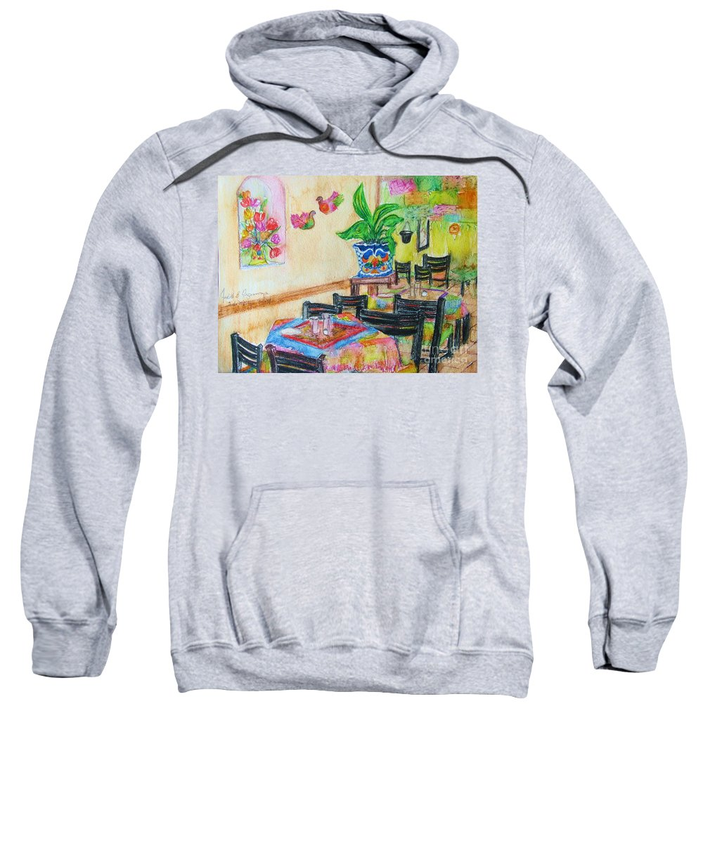 Watercolor Sweatshirt featuring the painting Indoor Cafe - Gifted by Judith Espinoza