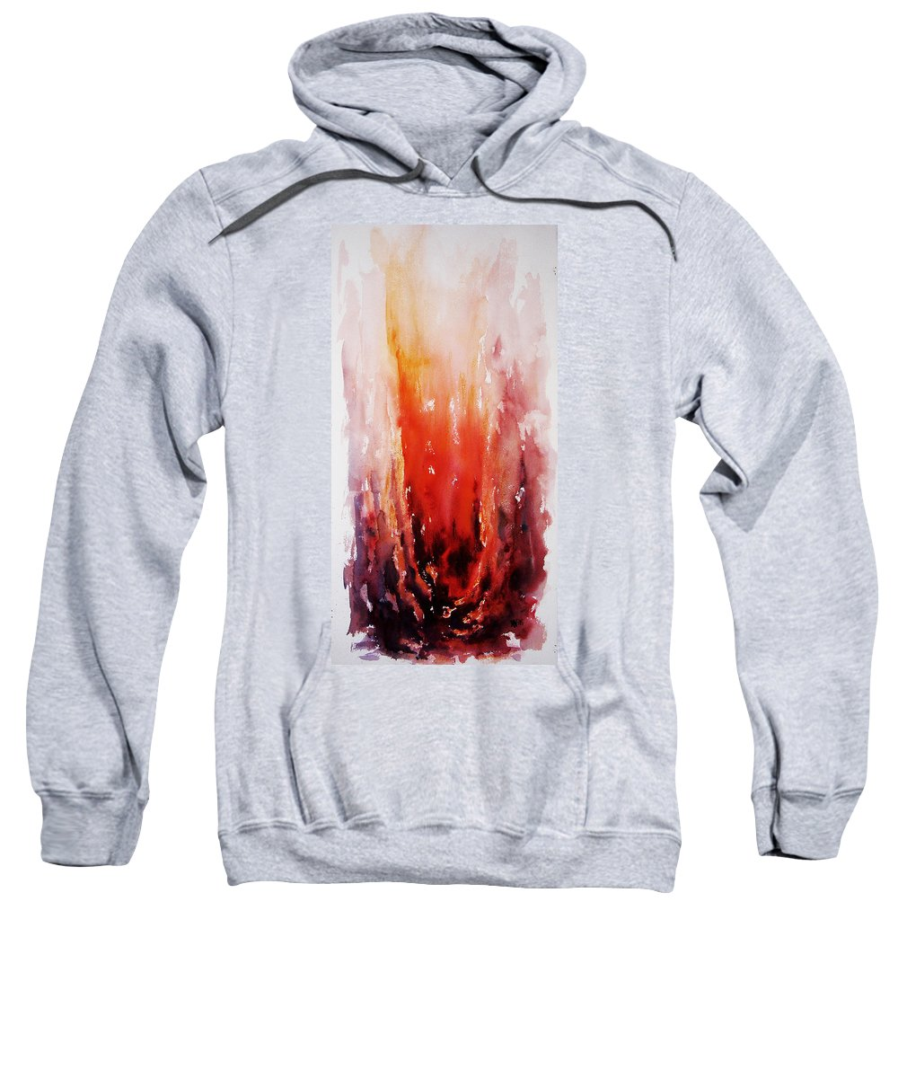 Landscape Sweatshirt featuring the painting Inferno by Rachel Christine Nowicki
