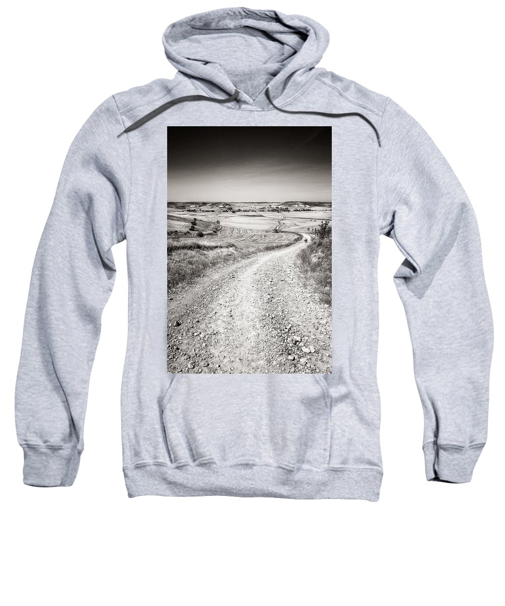 Landscape Sweatshirt featuring the pyrography Infinity Road To Santiago by Antonio Di Marco