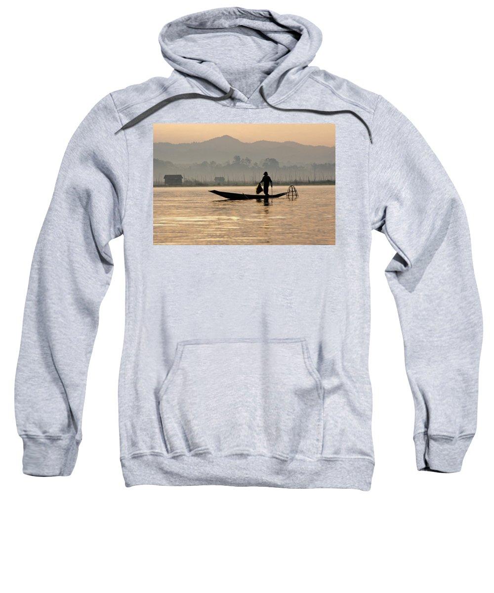 Asia Sweatshirt featuring the photograph Inle Lake Fisherman by Michele Burgess