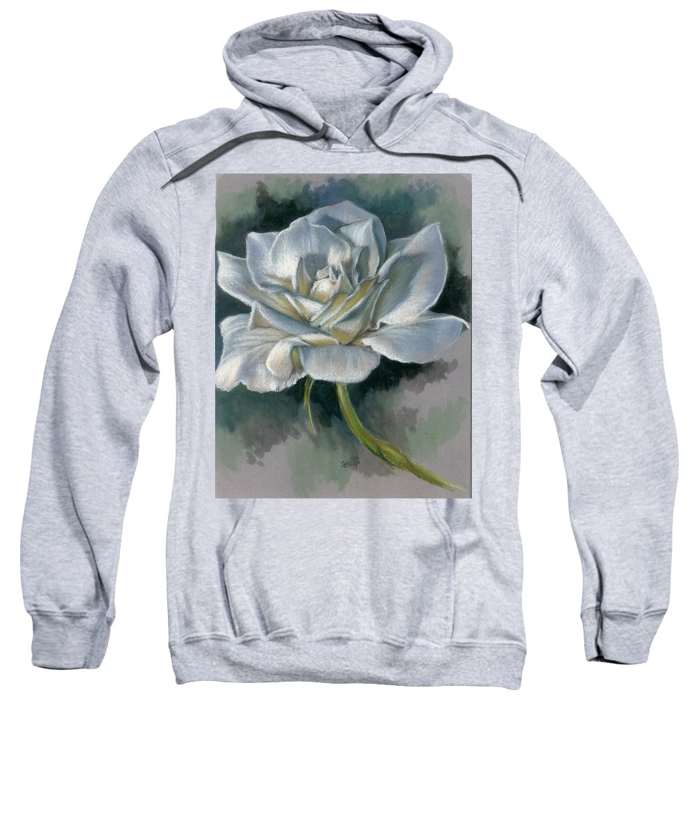 Rose Sweatshirt featuring the mixed media Innocence by Barbara Keith