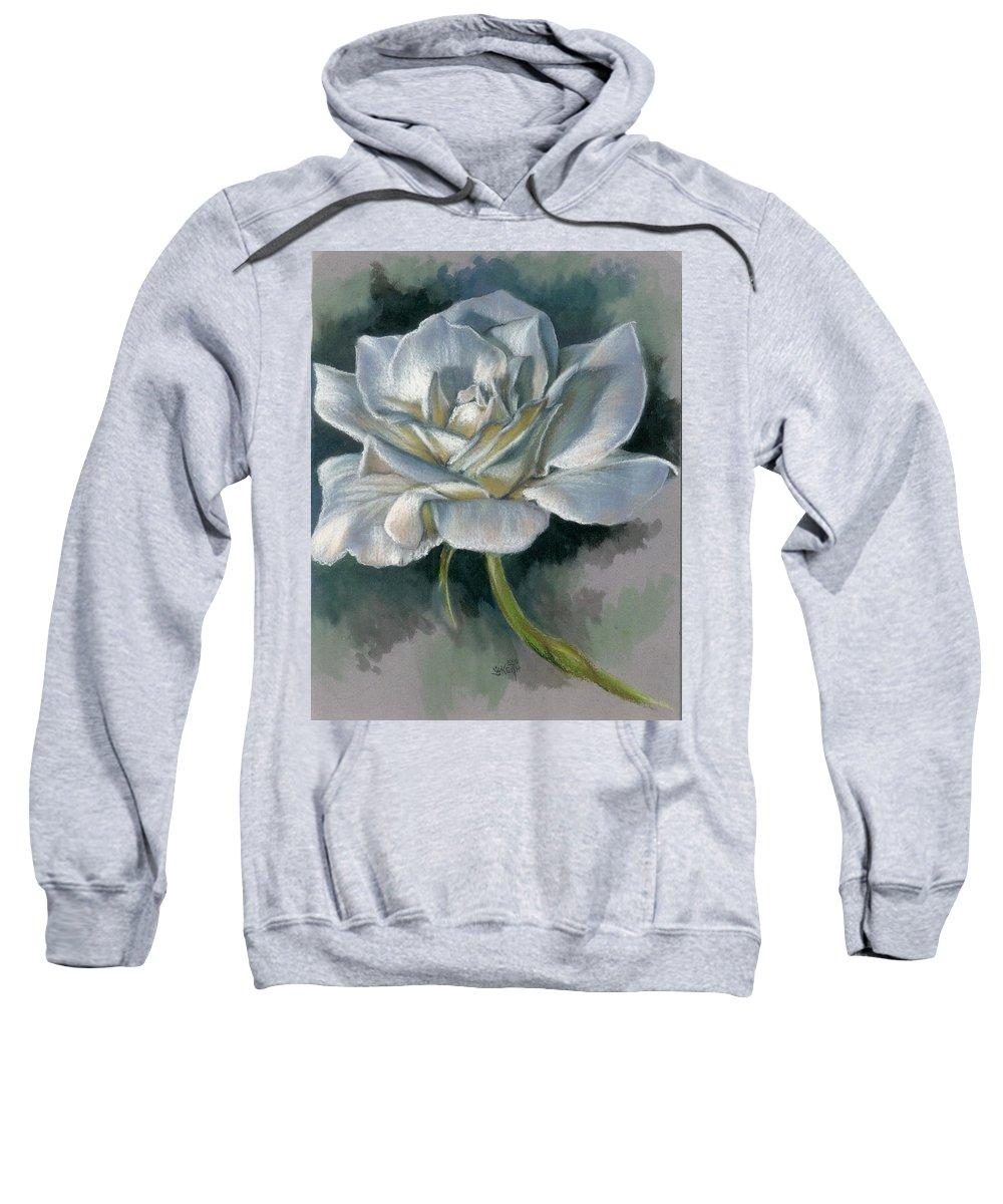 Rose Sweatshirt featuring the mixed media Innocence by Barbara Keith