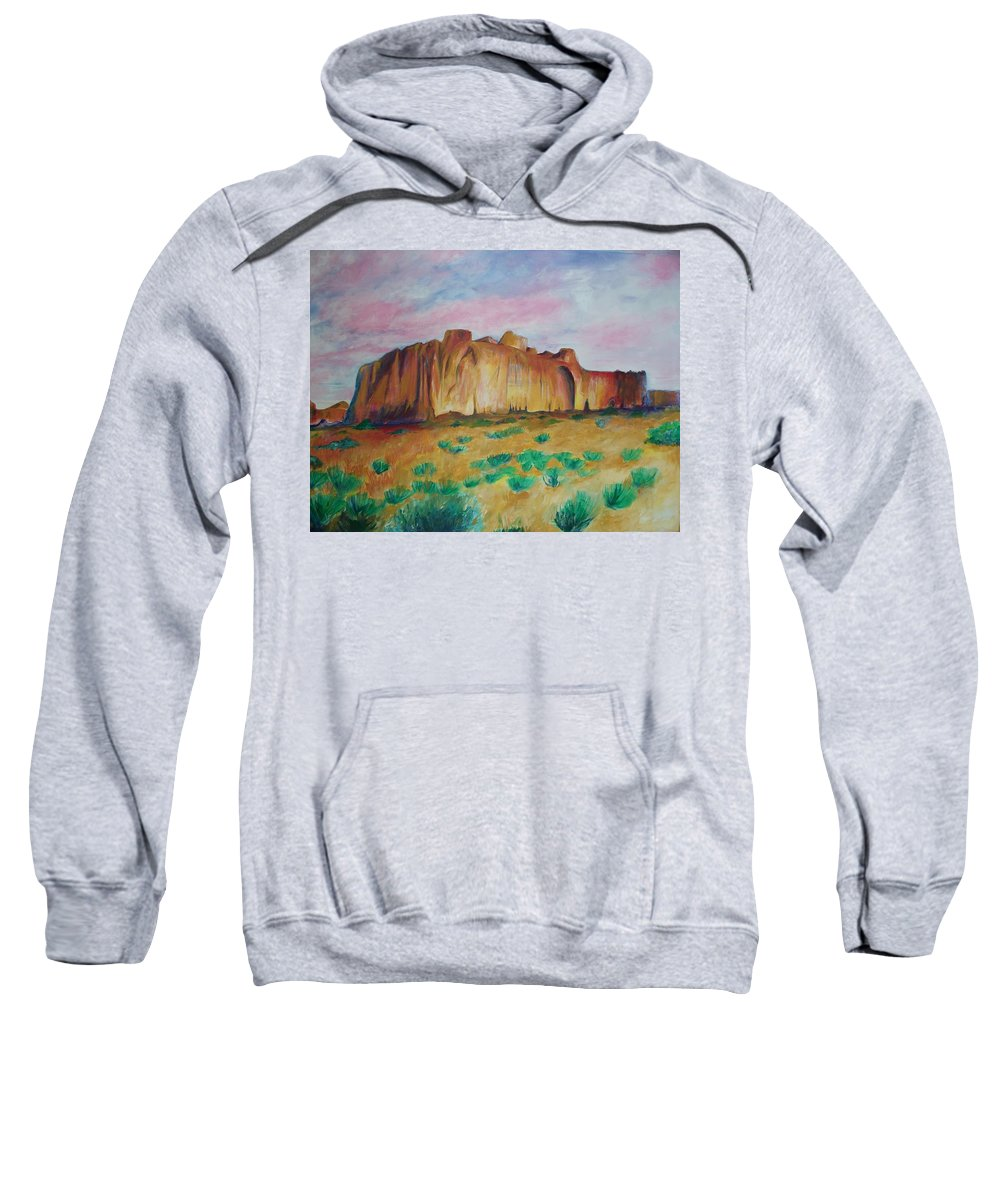 Western Landscapes Sweatshirt featuring the painting Inscription Rock by Eric Schiabor