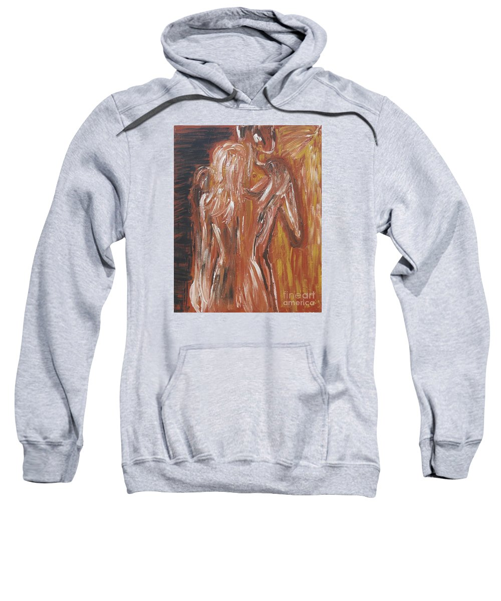 Couple Sweatshirt featuring the painting Inseparable Lovers by Jasmine Tolmajian