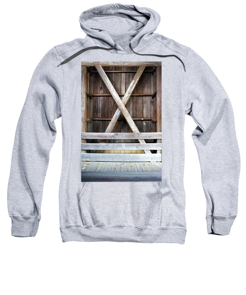 Wood Sweatshirt featuring the photograph Inside A Covered Bridge by Nancy Aurand-Humpf