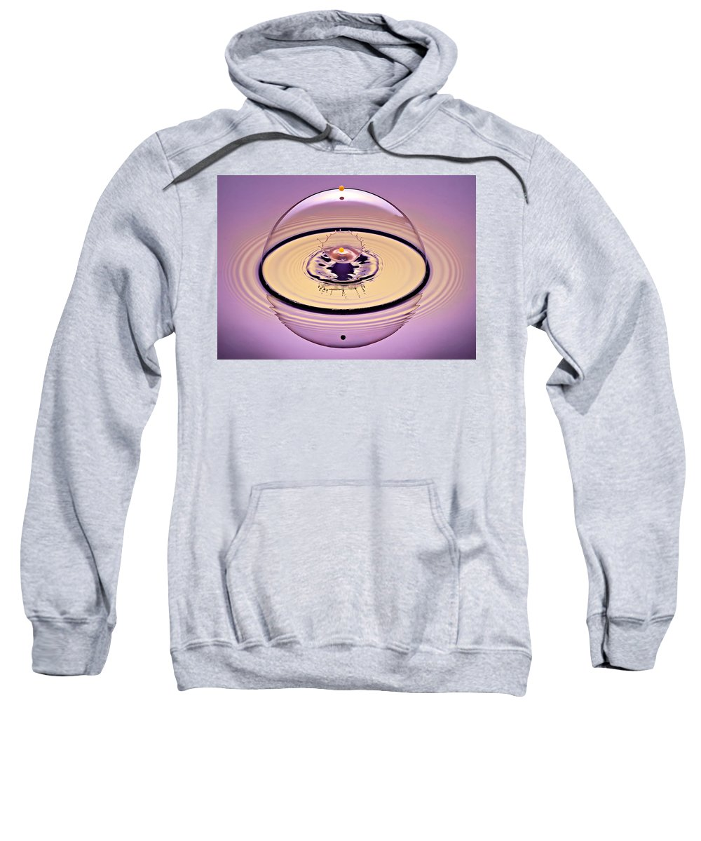 Water Drop Collision Sweatshirt featuring the photograph Inside A Saturn Bubble by Susan Candelario