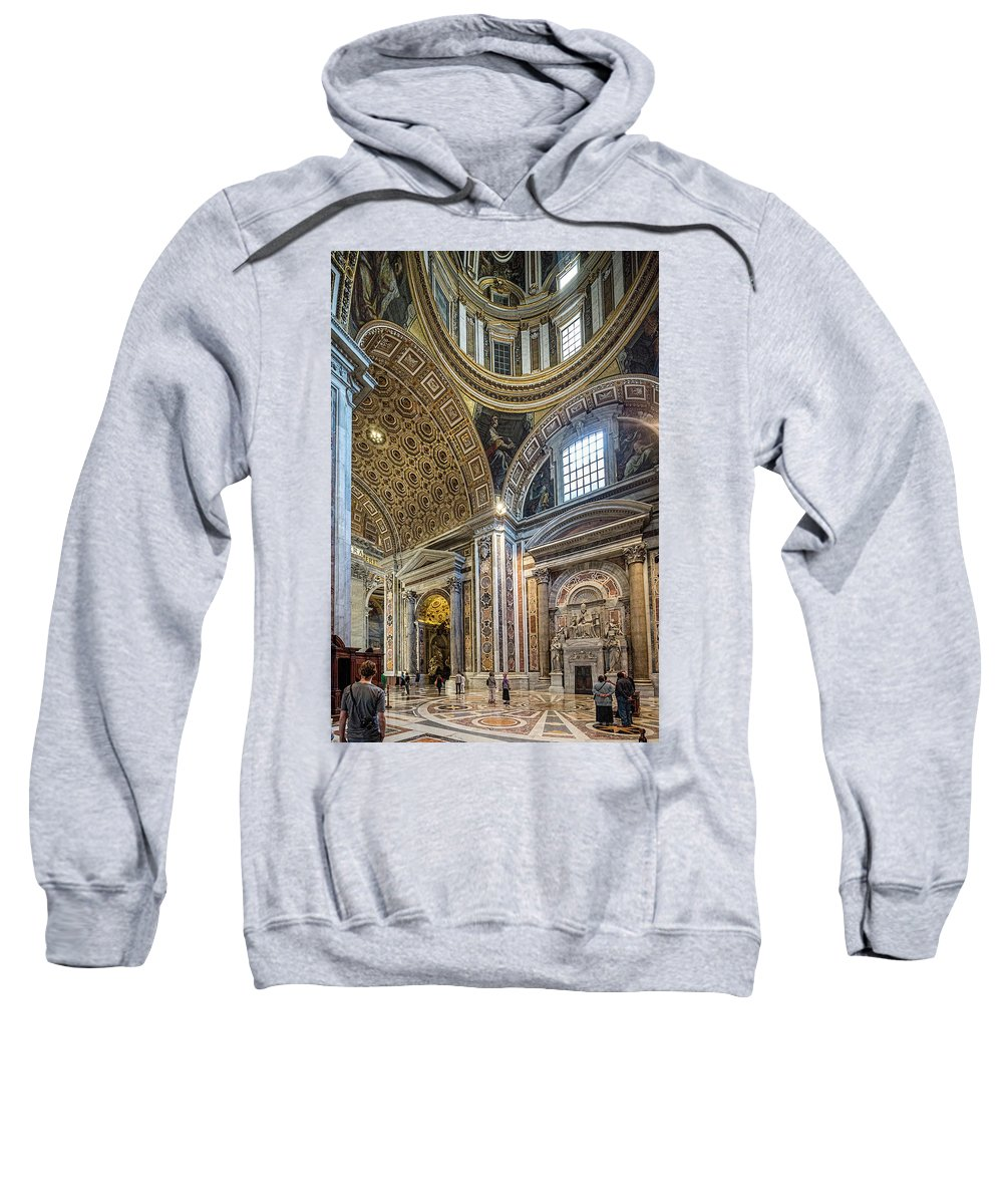St Peter�s Basilica Christianity Cathedral Church Holy Monument Pope Balcony San Pietro Rome Europe European Italy Italia Rome Roma Roman History Historic Beautiful Style Romantic Romance Summer In Italy Landmark Monument Capital Tiber Architecture Architectural Buildings Summer In Rome Sweatshirt featuring the photograph Inside St Peter's Basilica Rome by Michael Evans