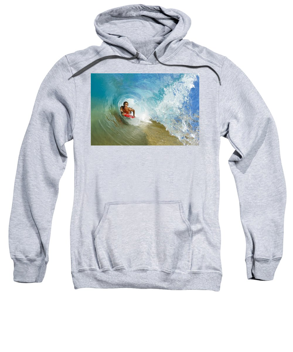 Action Sweatshirt featuring the photograph Inside Wave Tube by MakenaStockMedia - Printscapes