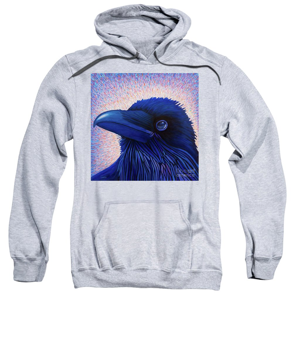 Raven Sweatshirt featuring the painting Inspiration by Brian Commerford