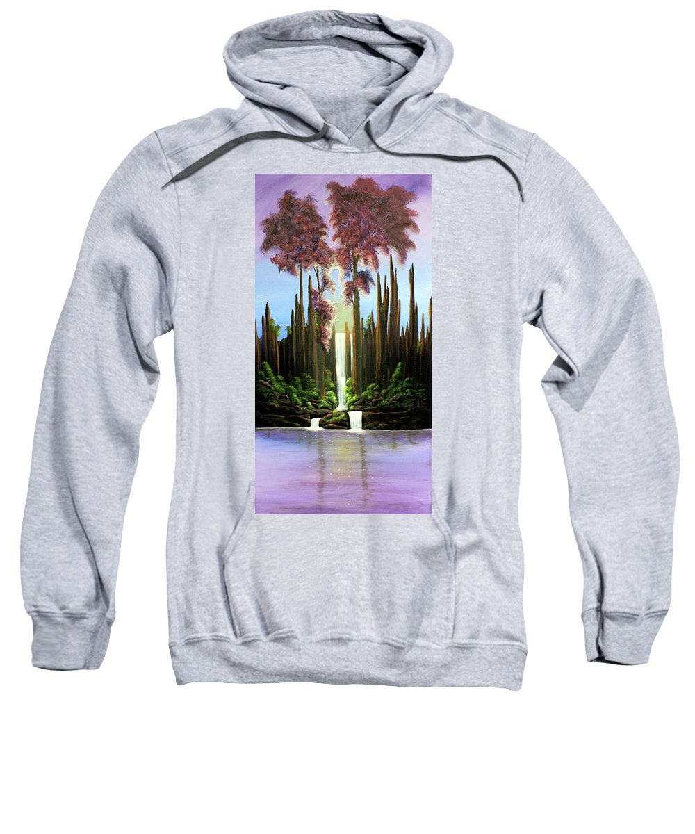 Waterfall Sweatshirt featuring the painting Inspireation Falls by Dawn Blair