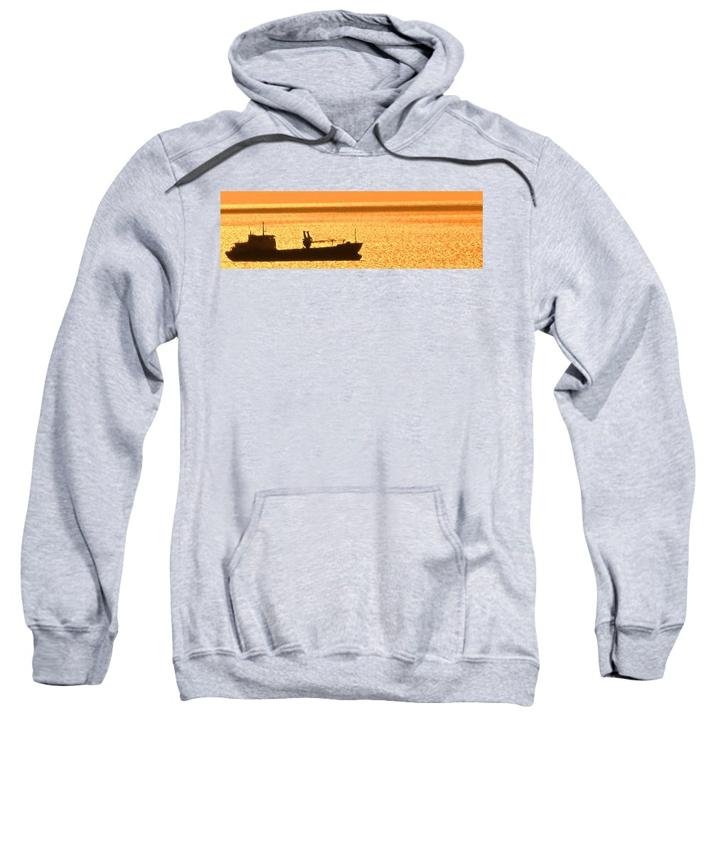 Ship Sweatshirt featuring the photograph Interisland Freighter by Ian MacDonald