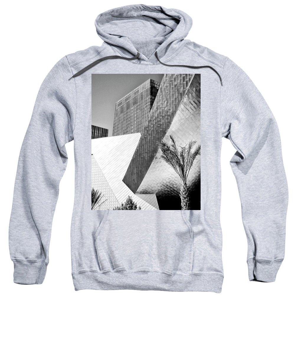 Vegas Sweatshirt featuring the photograph Intersection 1 Bw Las Vegas by William Dey