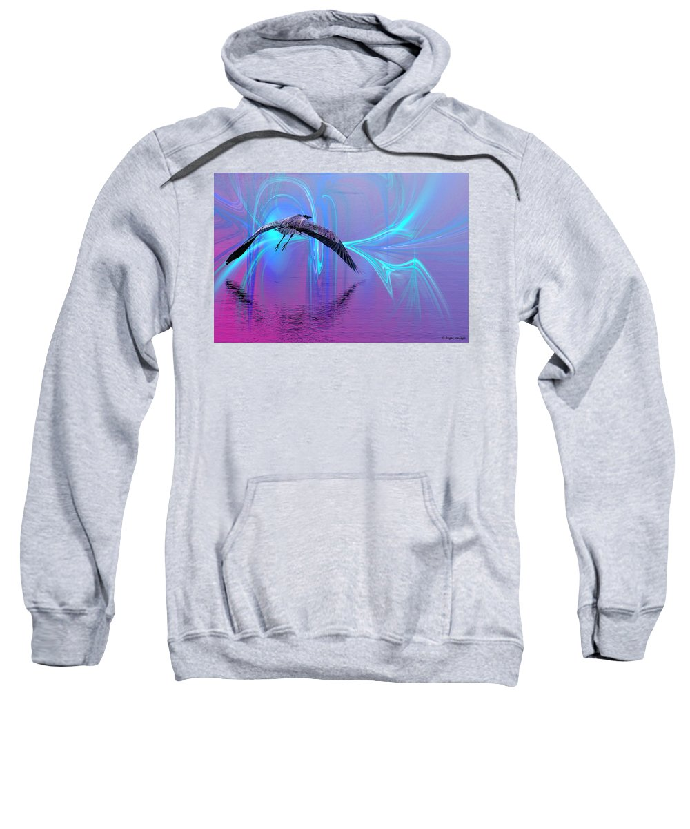 Fractal Sweatshirt featuring the painting Into The Lagoon by Roger Wedegis