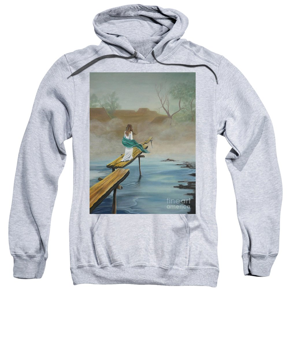 Water Sweatshirt featuring the painting Into The Mist by Kris Crollard