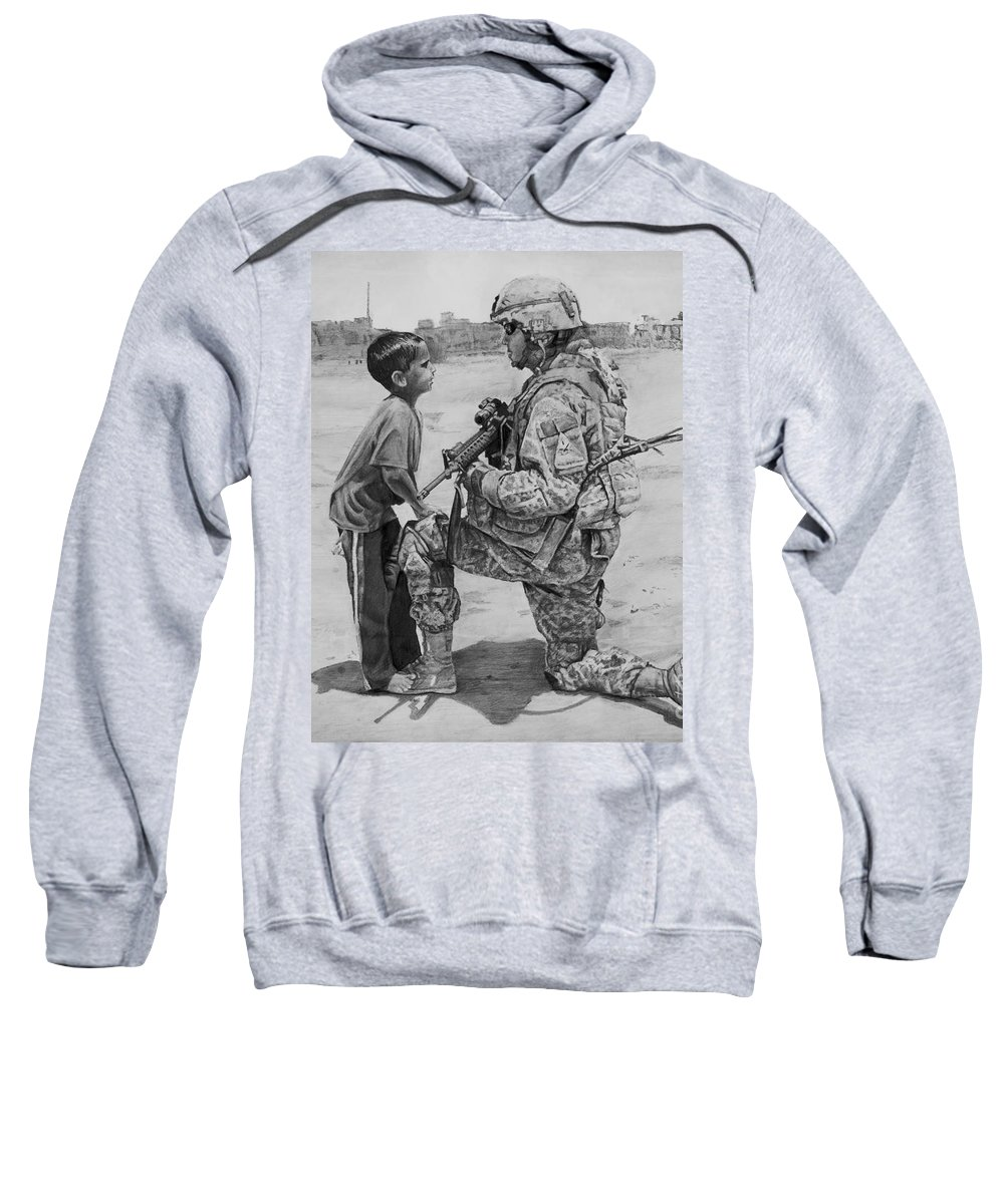 Usa Sweatshirt featuring the drawing Iraq by Raoul Alburg