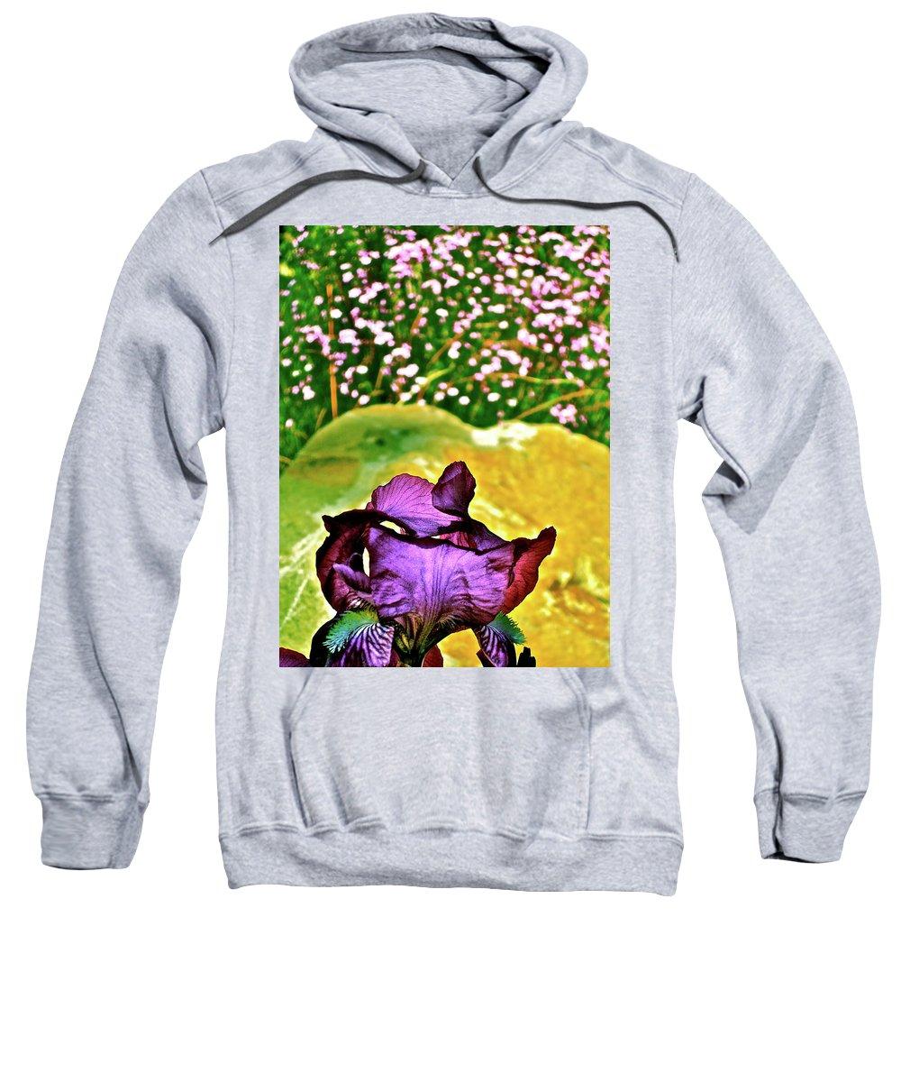Flower Sweatshirt featuring the photograph Iris 11 by Pamela Cooper