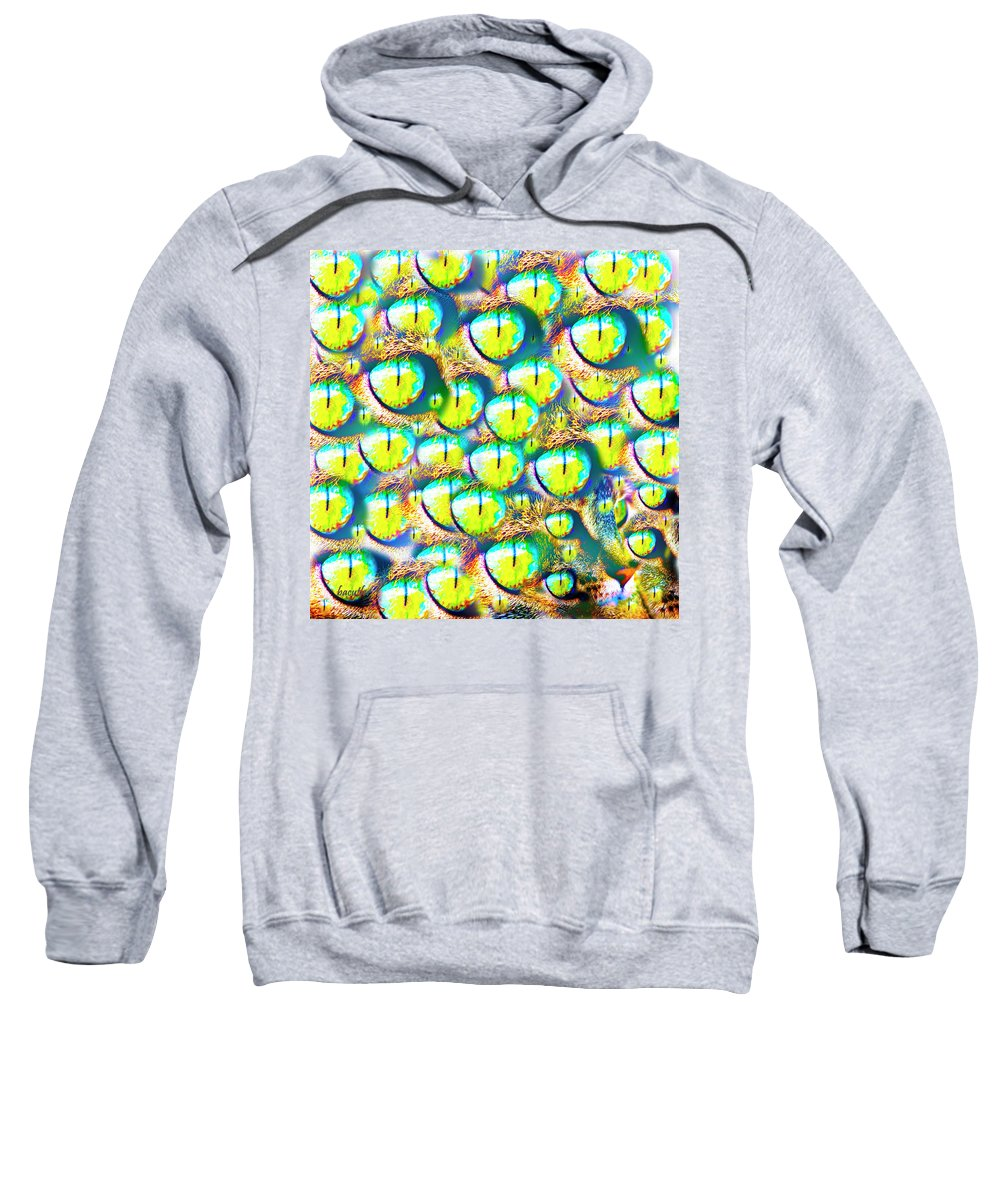 Cat Sweatshirt featuring the digital art Iris by Betsy Knapp