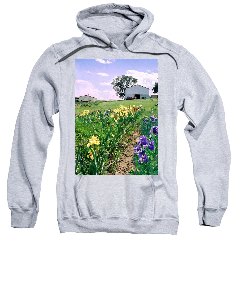 Landscape Painting Sweatshirt featuring the photograph Iris Farm by Steve Karol