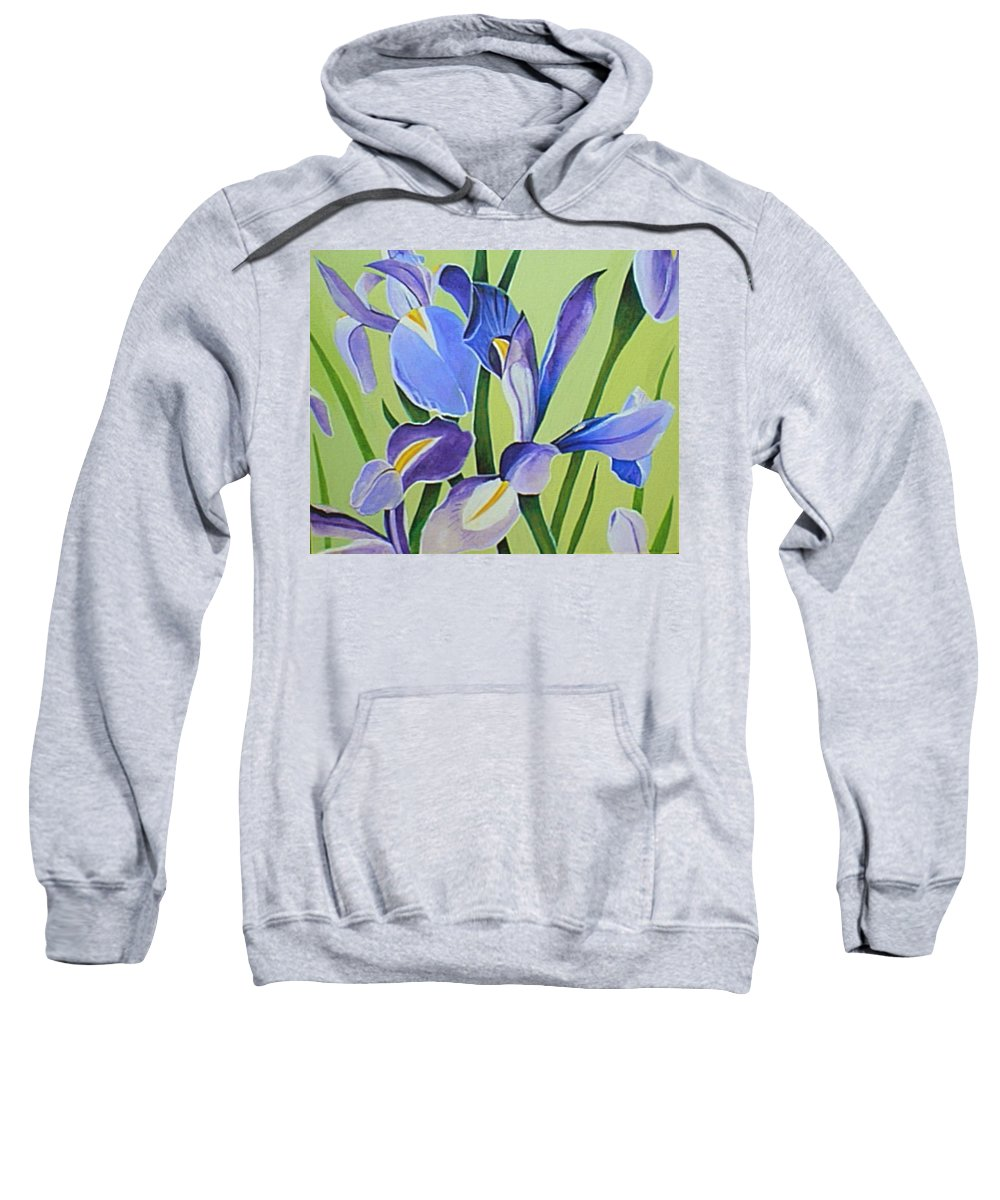 Flower Sweatshirt featuring the painting Iris Fields - Center Panel by Helena Tiainen