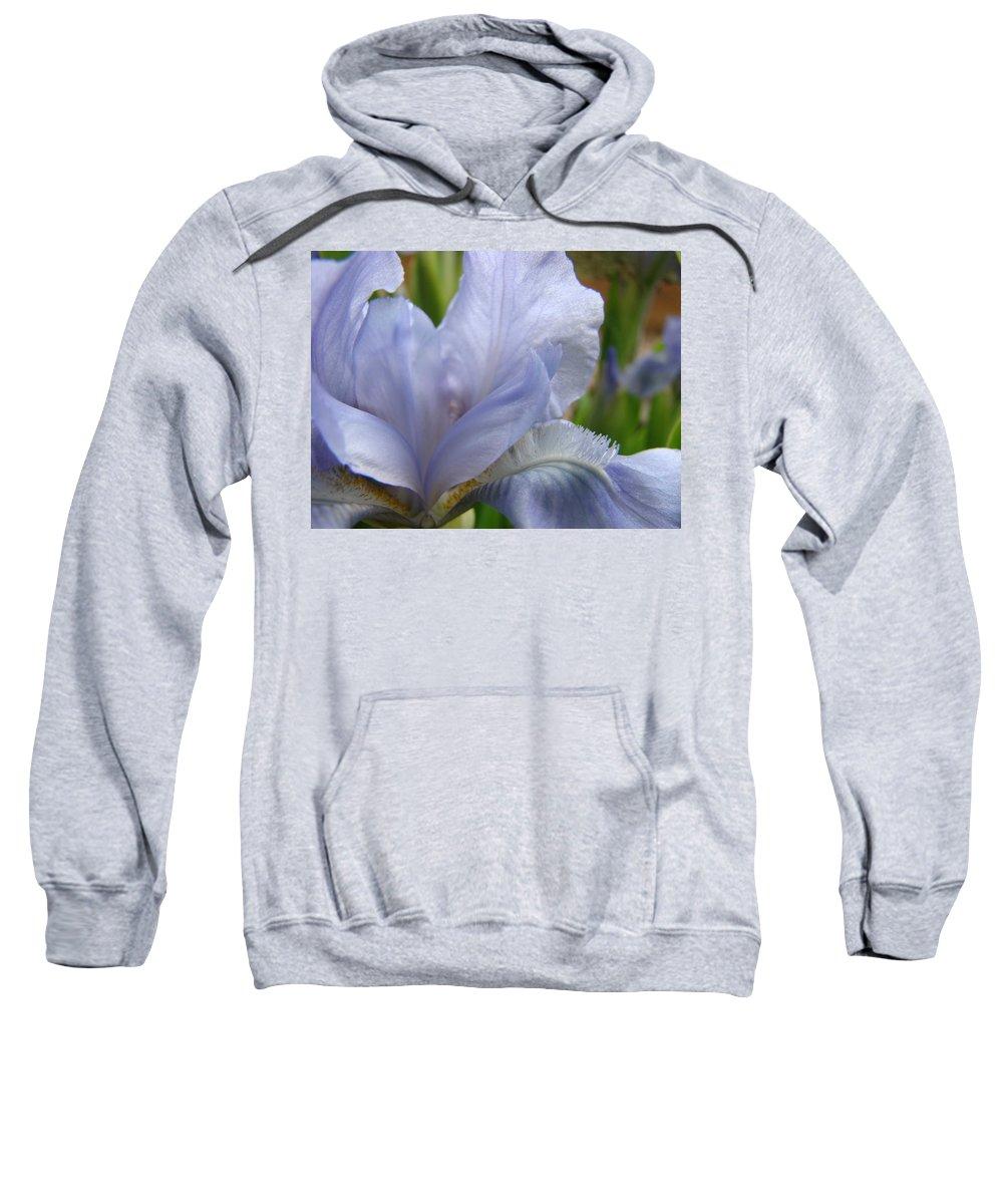 �irises Artwork� Sweatshirt featuring the photograph Iris Flower Blue 2 Irises Botanical Garden Art Prints Baslee Troutman by Baslee Troutman