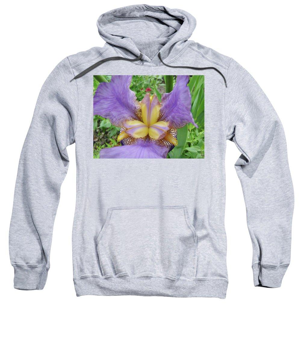 �irises Artwork� Sweatshirt featuring the photograph Iris Flower Lavender Purple Yellow Irises Garden 19 Art Prints Baslee Troutman by Baslee Troutman