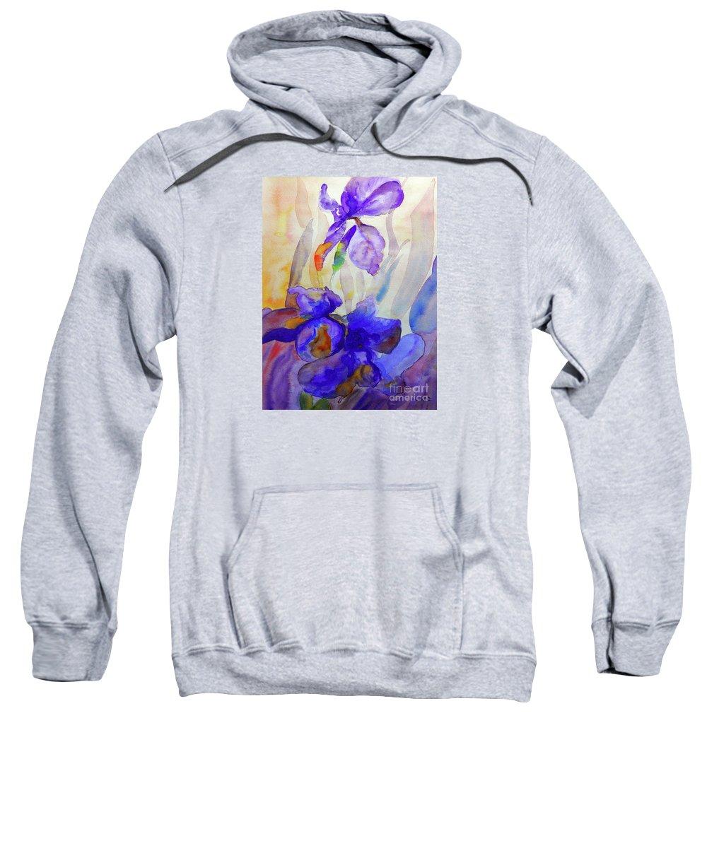 Beautiful Iris Sweatshirt featuring the painting Iris by Jasna Dragun