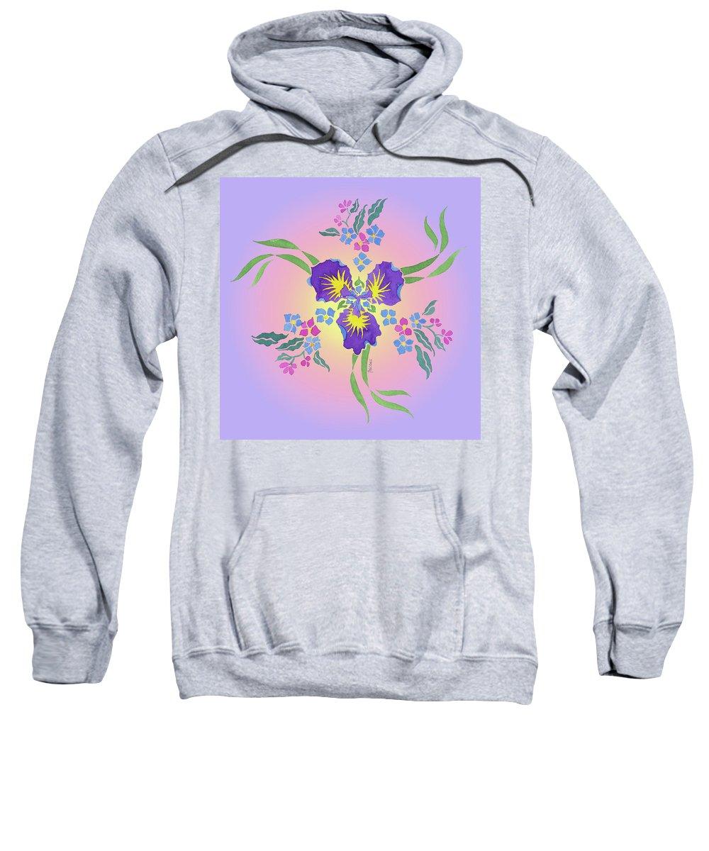 Iris Pinwheel Sweatshirt featuring the painting Iris Pinwheel by Teresa Ascone