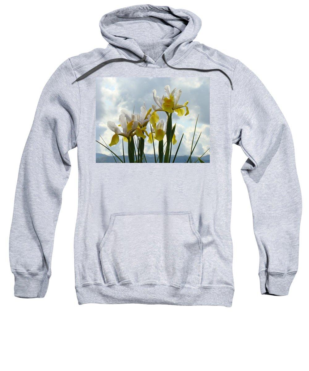 �irises Artwork� Sweatshirt featuring the photograph Irises Yellow White Iris Flowers Storm Clouds Sky Art Prints Baslee Troutman by Baslee Troutman