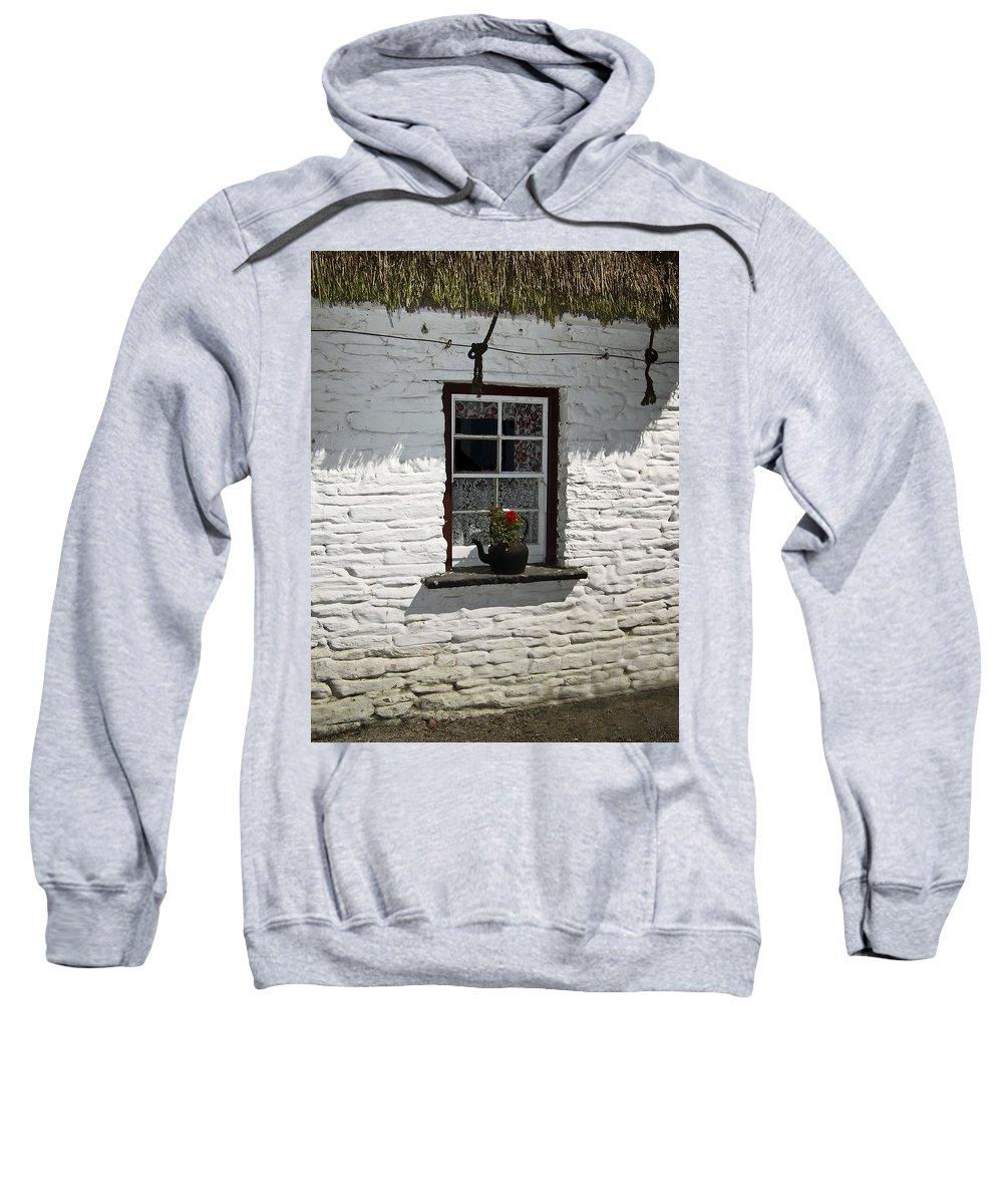 Irish Sweatshirt featuring the photograph Irish Kettle Of Geraniums County Cork Ireland by Teresa Mucha