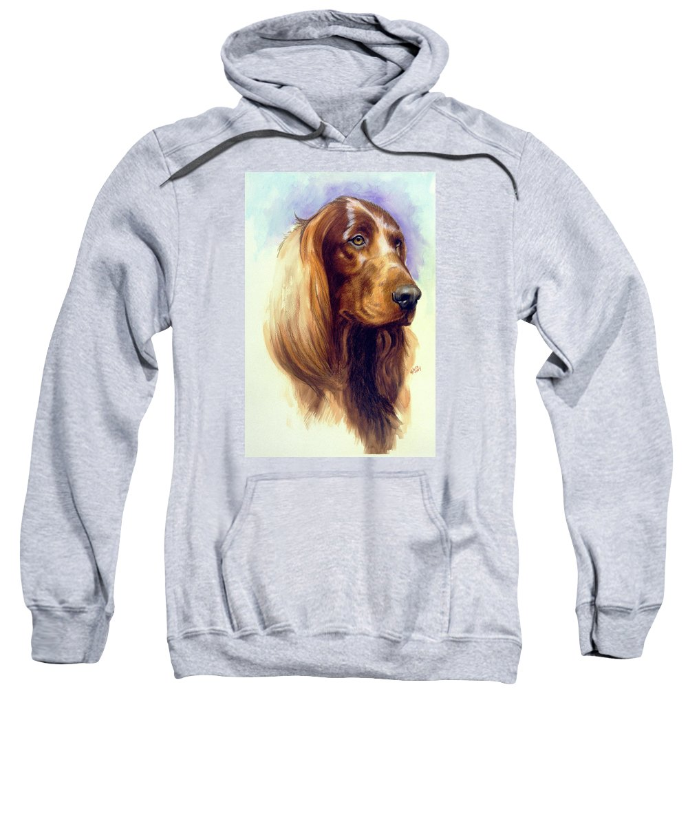 Sporting Group Sweatshirt featuring the painting Irish Setter by Barbara Keith