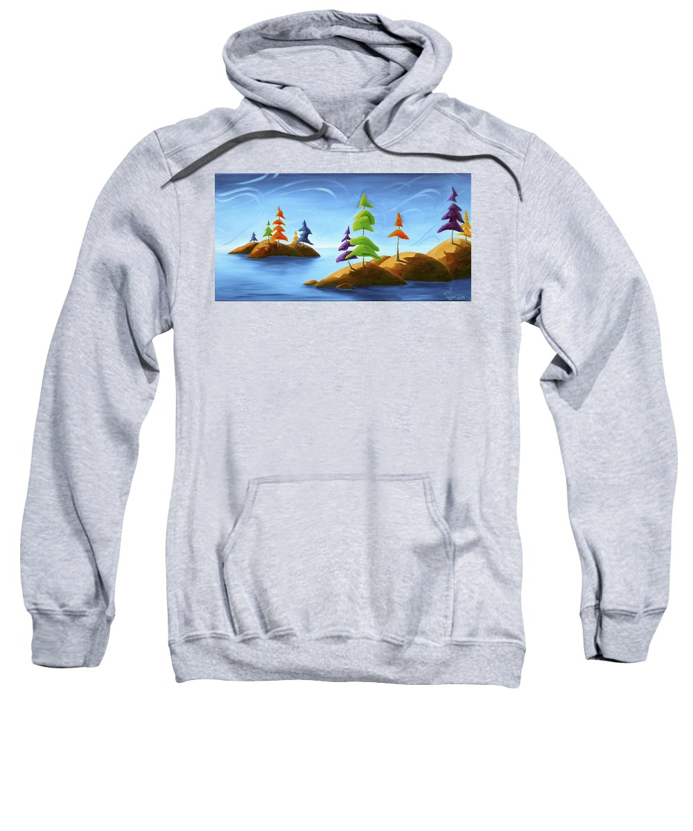 Landscape Sweatshirt featuring the painting Island Carnival by Richard Hoedl