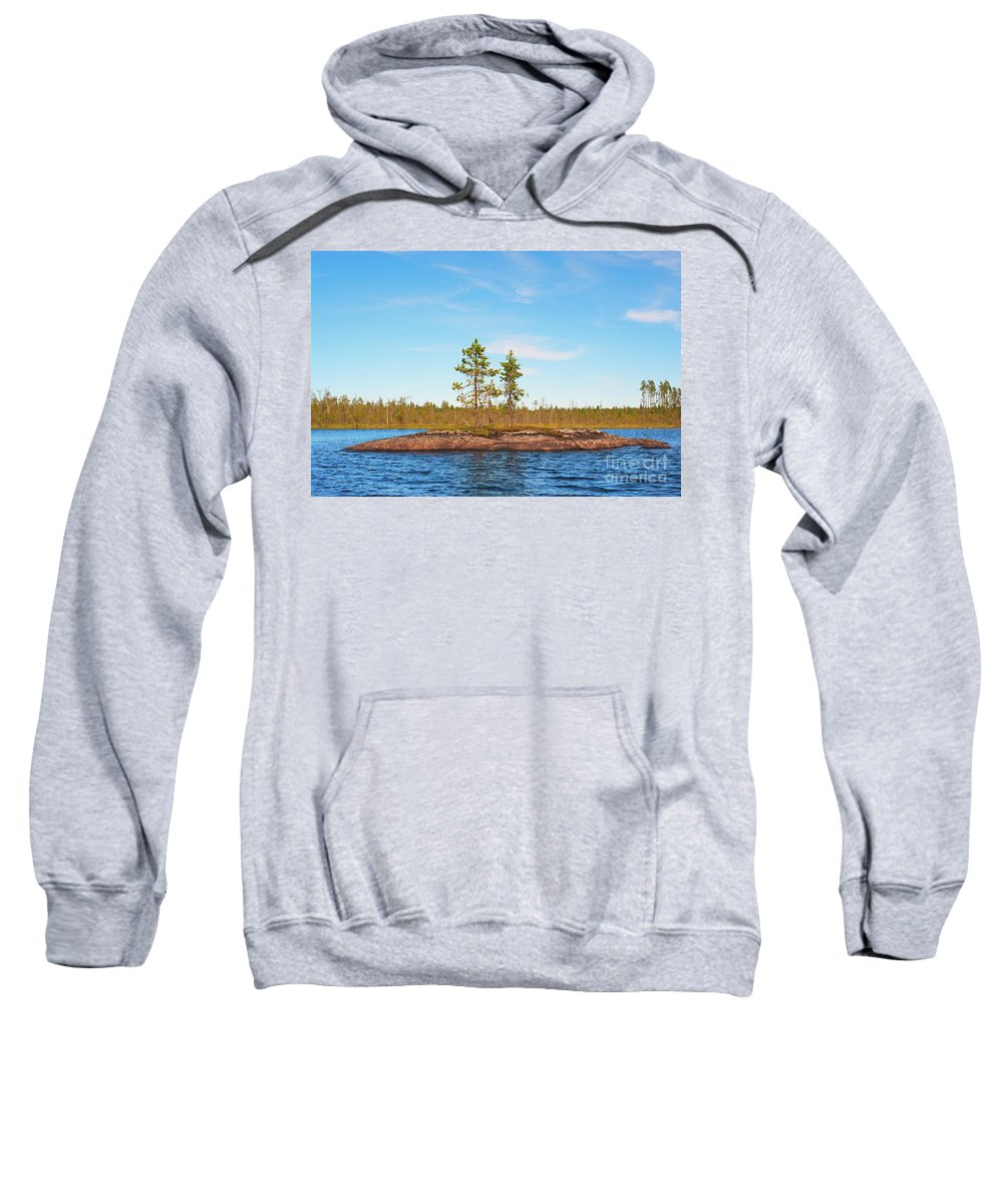 Beautiful Sweatshirt featuring the photograph Island In The Form Of A Smooth Rock With Several Pines by Vadzim Kandratsenkau