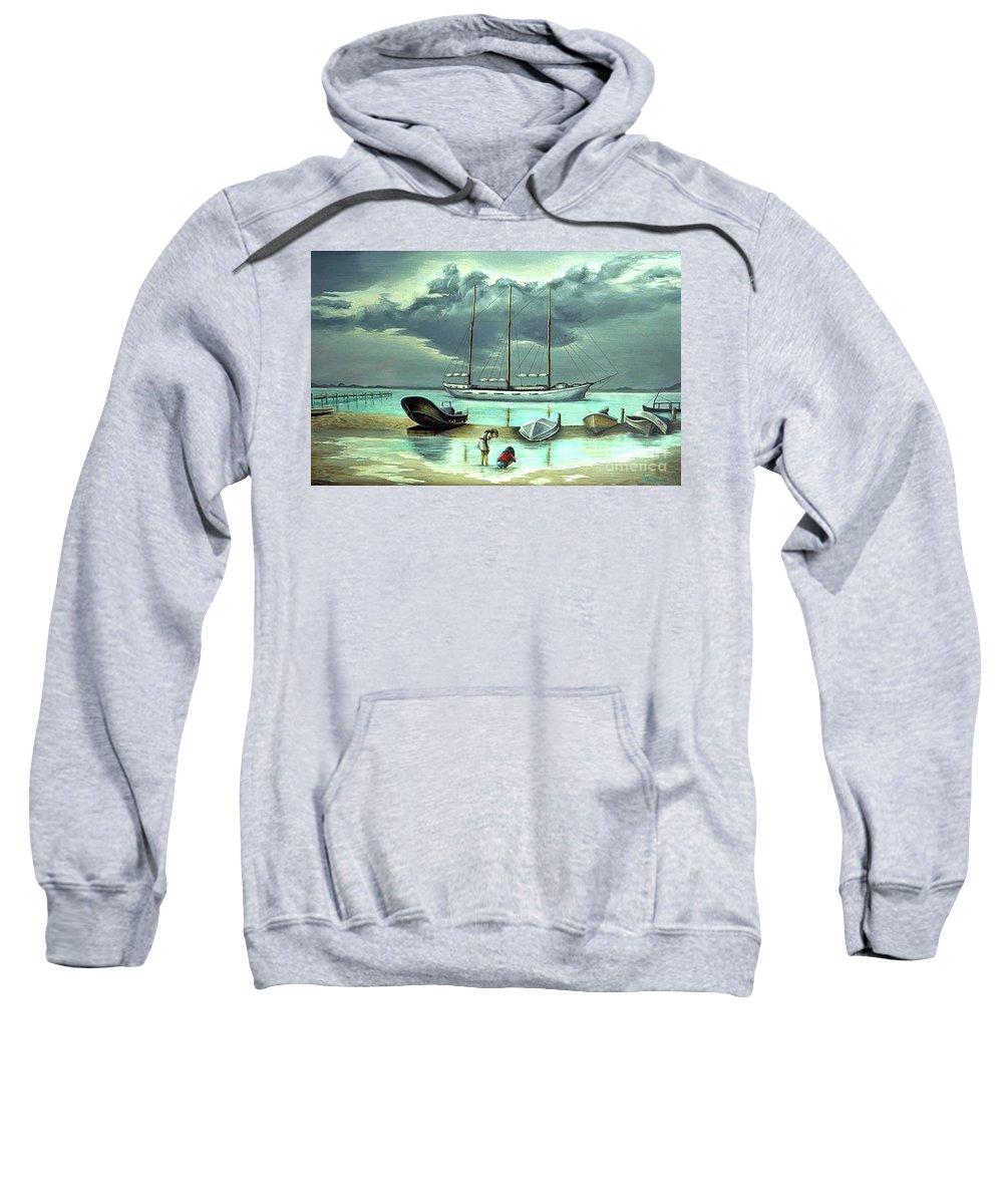 Fuqua Gallery-bev-artwork Sweatshirt featuring the painting Isle Of Mujeres by Beverly Fuqua