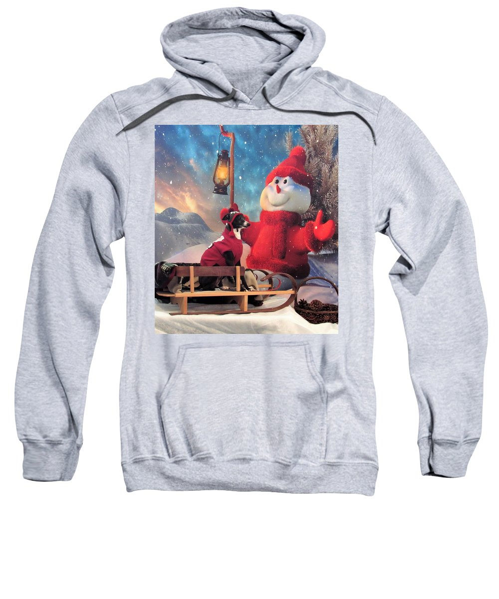 Dino In Winter Scene Sweatshirt featuring the digital art Italian Greyhound With Snowman by Janie Norris